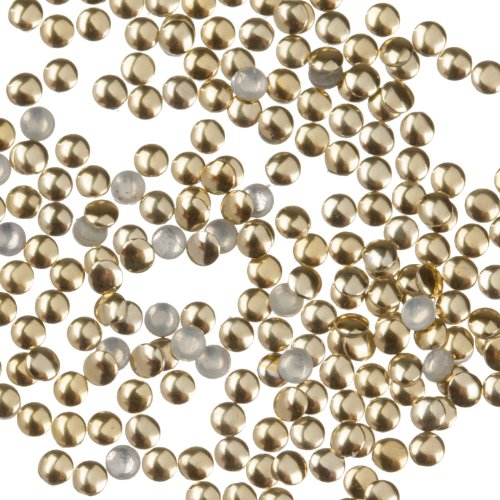 Zink Color Nail Art Gold Round Metal Stud Small 50Pc. Embellishment ()