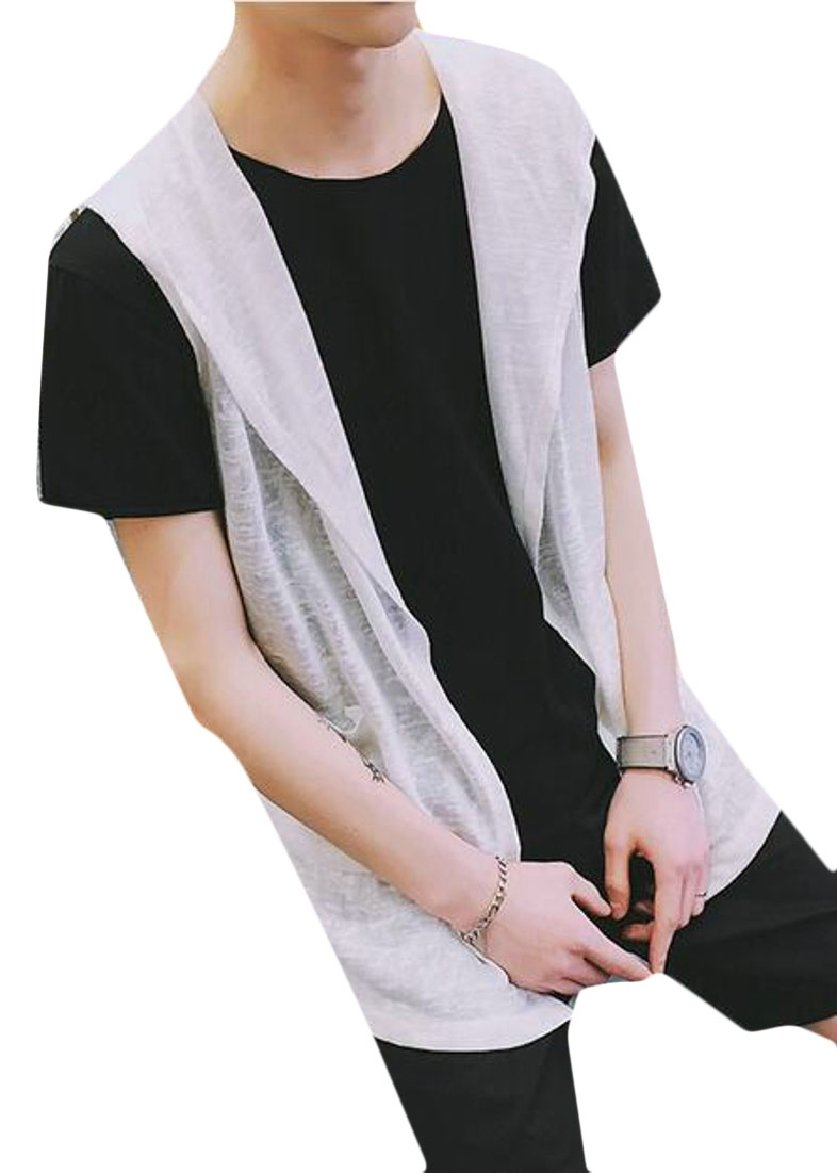 FLCH+YIGE Mens Sleeveless Lightweight Cotton Open Front Hooded Vest White S