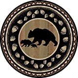 Dean Black Bear Lodge Cabin Bear Carpet Area Rug Size: 5'3″ Round Review