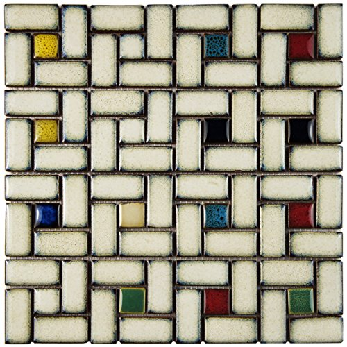 """SomerTile WTCSTRBF Strawberry Visions Glazed Porcelain Mosaic Floor and Wall Tile, 12"""" x 12"""", White/Cream/Blue lovely"""