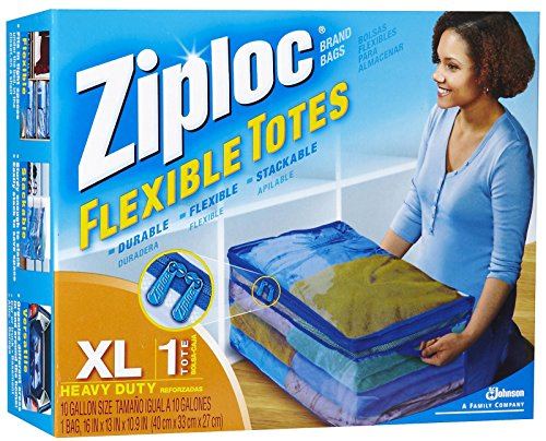 Ziploc 1616457 XL Flex Flexible Tote with Handle, Large, Cle
