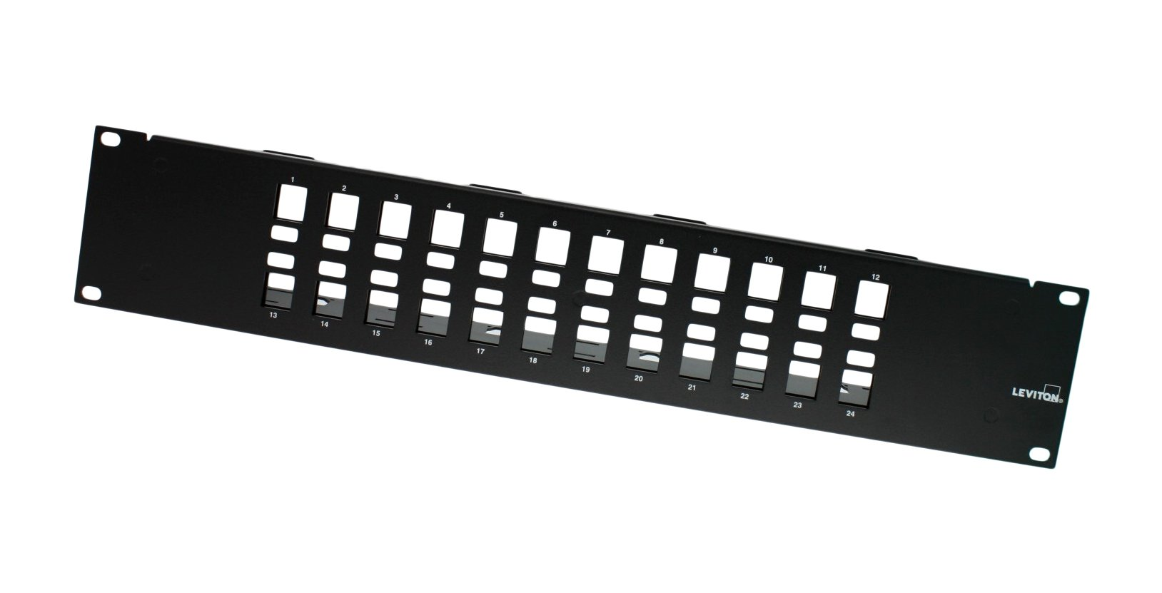 Leviton 49255-Q24 QuickPort Multimedia Patch Panel, 24-Port, 1RU, Cable Management Bar Included