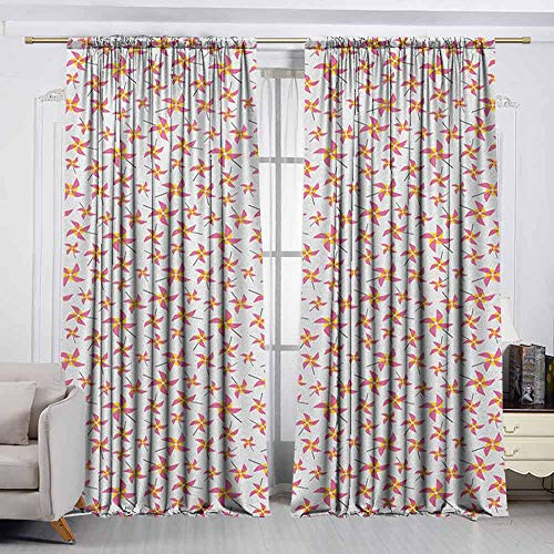 VIVIDX Curtain Tailored,Pinwheel,Fun Times with Pinwheels Childish Toys Playing Wind Happines Nursery,for Patio/Front Porch,W63x45L Inches Yellow Pink and Grey ()