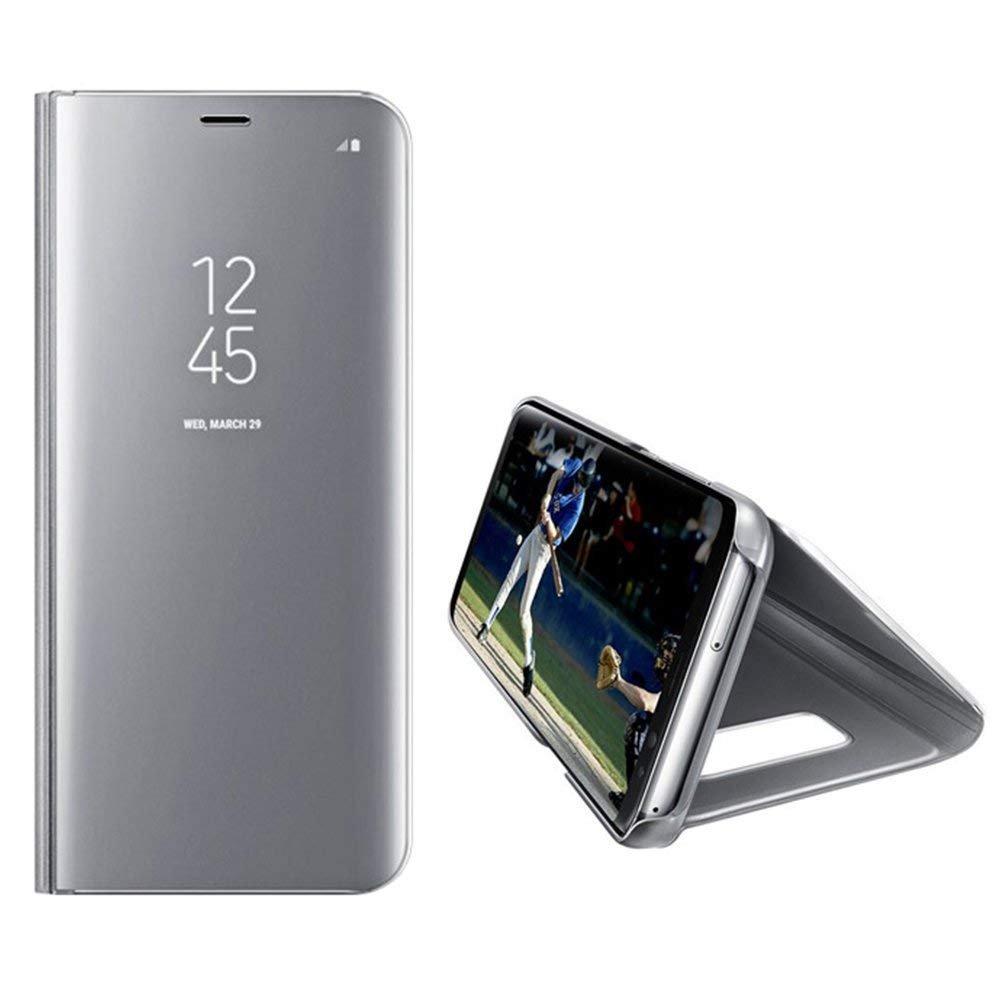 Shock-Absorption JAWSEU Huawei P30 PRO Cover Custodia Specchio Pelle Portafoglio,Huawei P30 PRO Cover Specchio Placcatura Super Sottile Supporto Leather Flip Custodia Bumper Cover,Argento