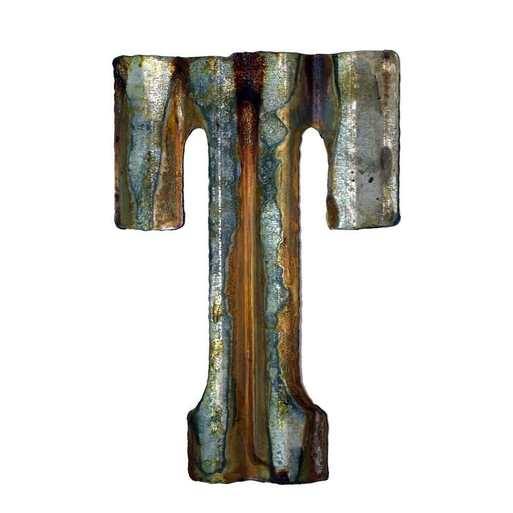 Custom Cut Decor 8'' Rusty Galvanized Corrugated Metal Letter -T