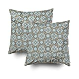 TOMWISH 2 Packs Hidden Zippered Pillowcase Celtic Inspired Interlocking Graphic Cream Black 16X16Inch,Decorative Throw Custom Cotton Pillow Case Cushion Cover for Home