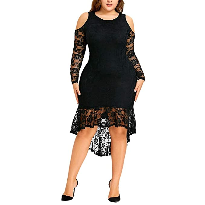 Women\'s Plus Size Lace Casual Dresses Cold Shoulder Long ...