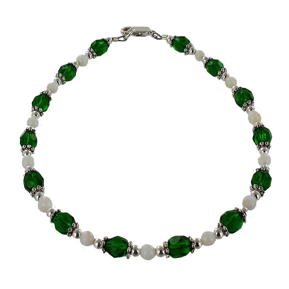 Timeless-Treasures Womens Dark Green Czech Fire Polished Glass, Mother of Pearl & Sterling Beaded Anklet with Daisies - 11''