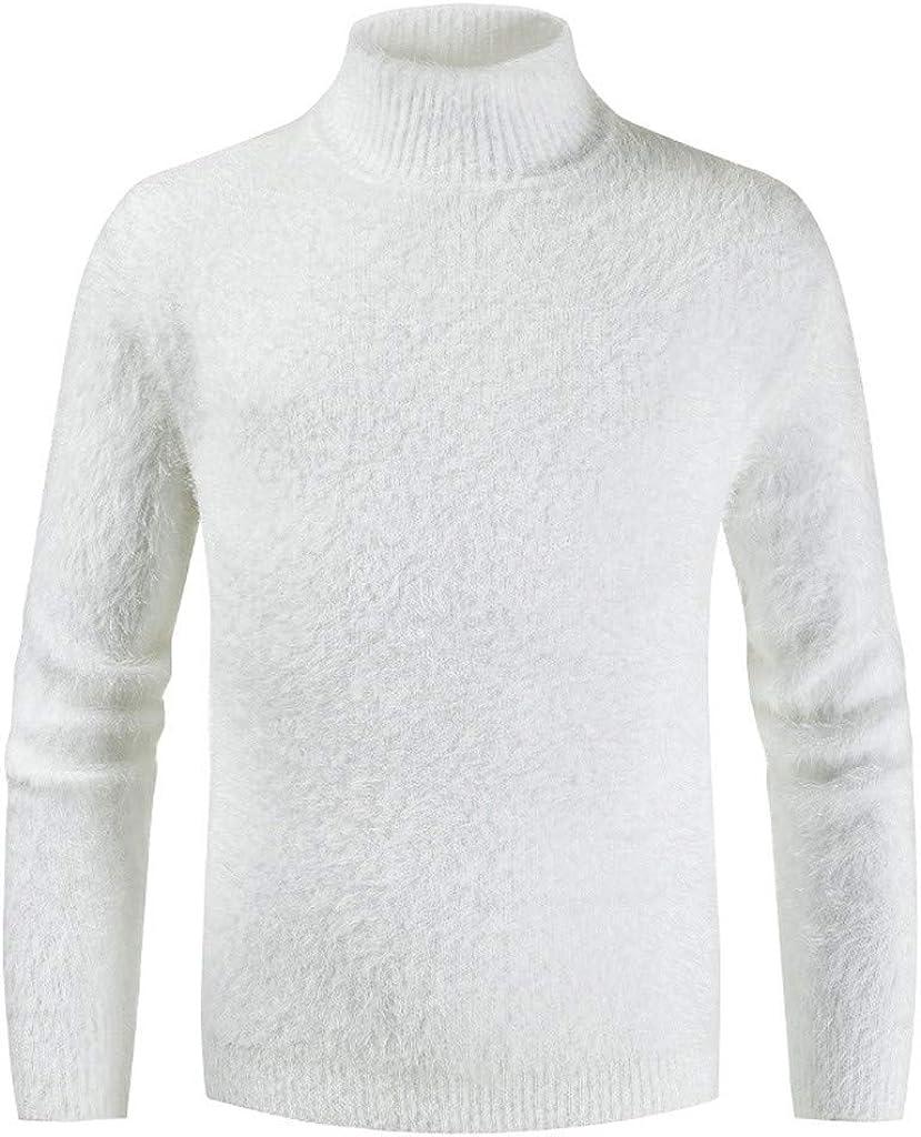 CLOOM Jersey Hombre Invierno Manga Larga Suéter Casual Jersey de Punto Caliente Cuello Alto Rebeca Tops para Viajes Trabajo Casa Talla Grande