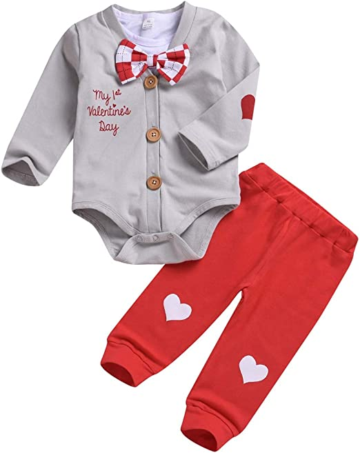 Puseky Baby Boys My 1st Valentines Day Outfits Gentleman Bow Tie Romper Jumpsuit Pants Set