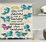 Ambesonne Cartoon Shower Curtain, Mythical Unicorns with Stars and Rainbow Legendary Creature Kids Theme Print, Fabric Bathroom Decor Set with Hooks, 84 inches Extra Long, Beige Teal Blue