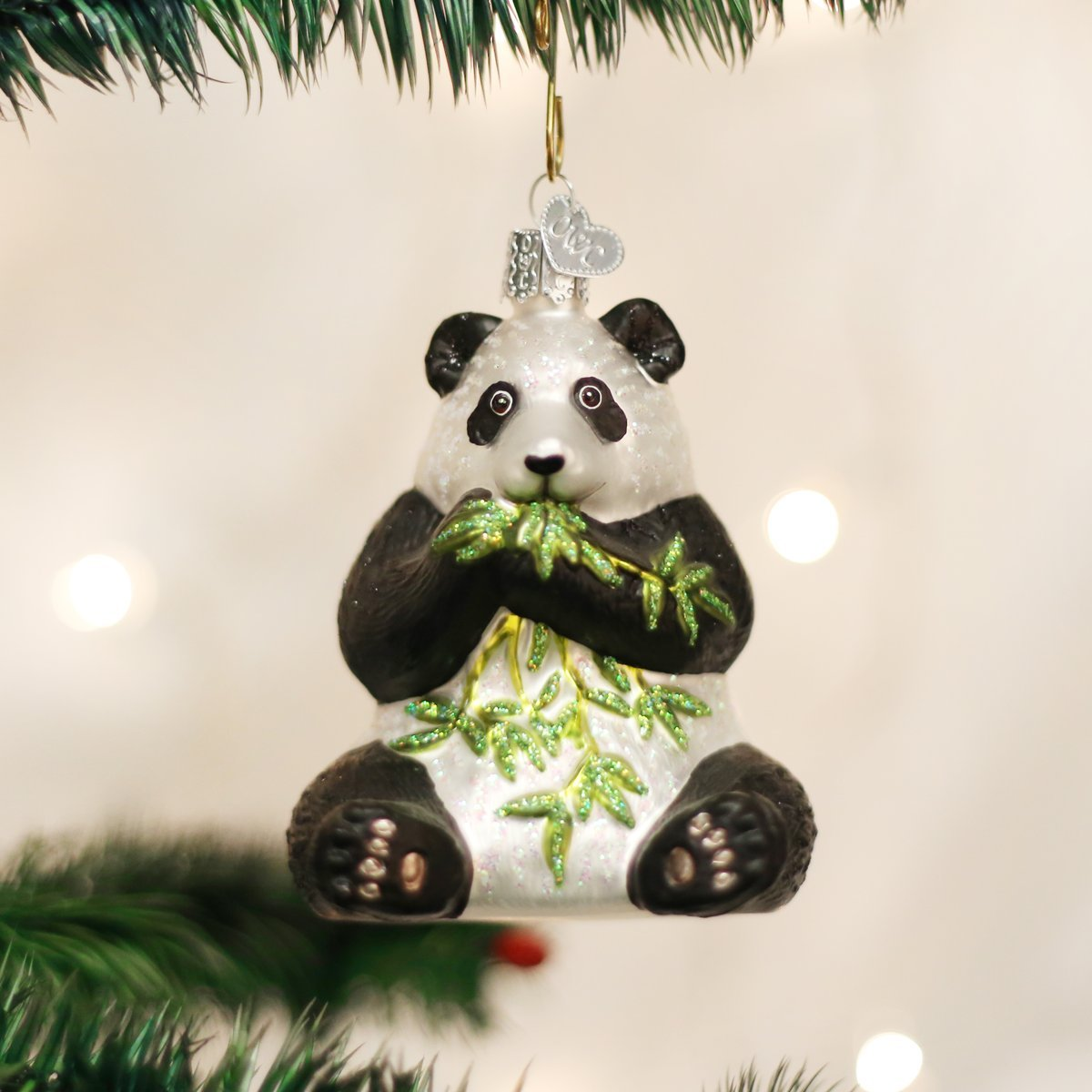 Amazon.com: Old World Christmas Panda Glass Blown Ornament: Home ...