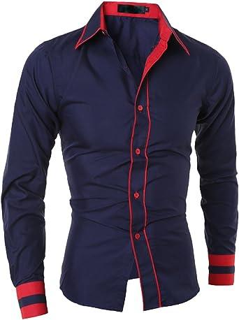 ISSHE Camisas Slim Fit Hombre Camisa Regular Fit Básica Cuello Clásico Camisas de Vestir Formal Caballero Camisas Vestidos Entalladas Casuales para Hombres Camisetas Manga Larga Business: Amazon.es: Ropa y accesorios