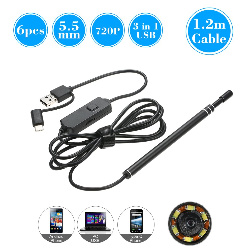 OWSOO 3 in 1 USB Type-C Endoscope 6 LED 5.5MM Lens Inspection Endoscope for Ear Nose Throat Health Care, Work with Android and Window PC