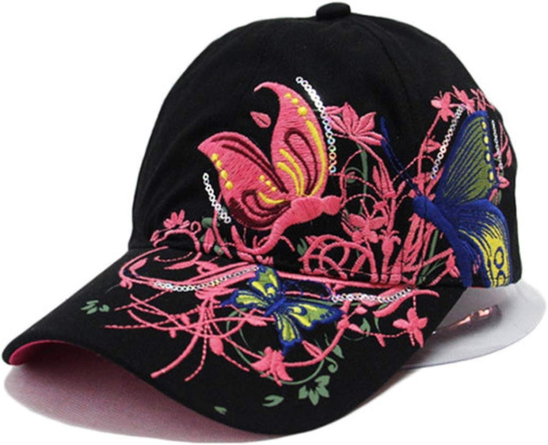 Butterfly Embroidery Cap Summer Lady Baseball Outdoor Hip-Hop Sun Hat Duck Tongue Visor