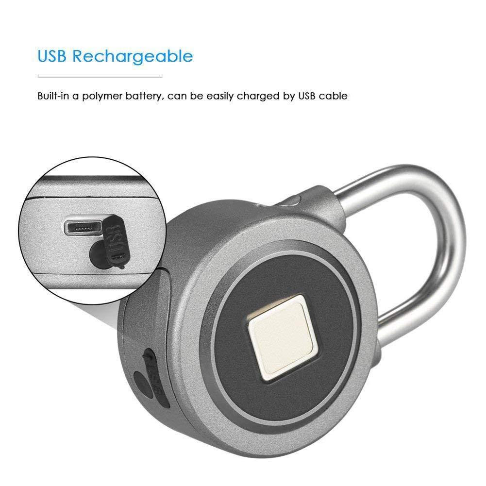 xiangpian183 Fingerprint Padlock Smart Lock Verrouillage De Mot De Passe Bluetooth Verrouillage /Étanche De La Serrure De Porte-Bagages De Cadenas Anti-vol avec APP//Empreinte Digitale//Bluetooth