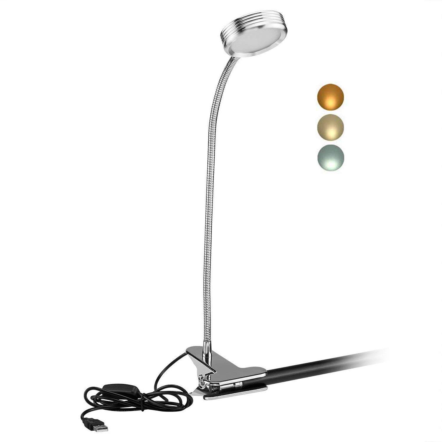 Clamp Desk Lamp, Clip on Reading Light, LED Levels Brightness 6 Illumination Modes Night Light for Desk, Bed Light, Bed headboard, AC Adapter and USB Cord Included (Silver) Werded