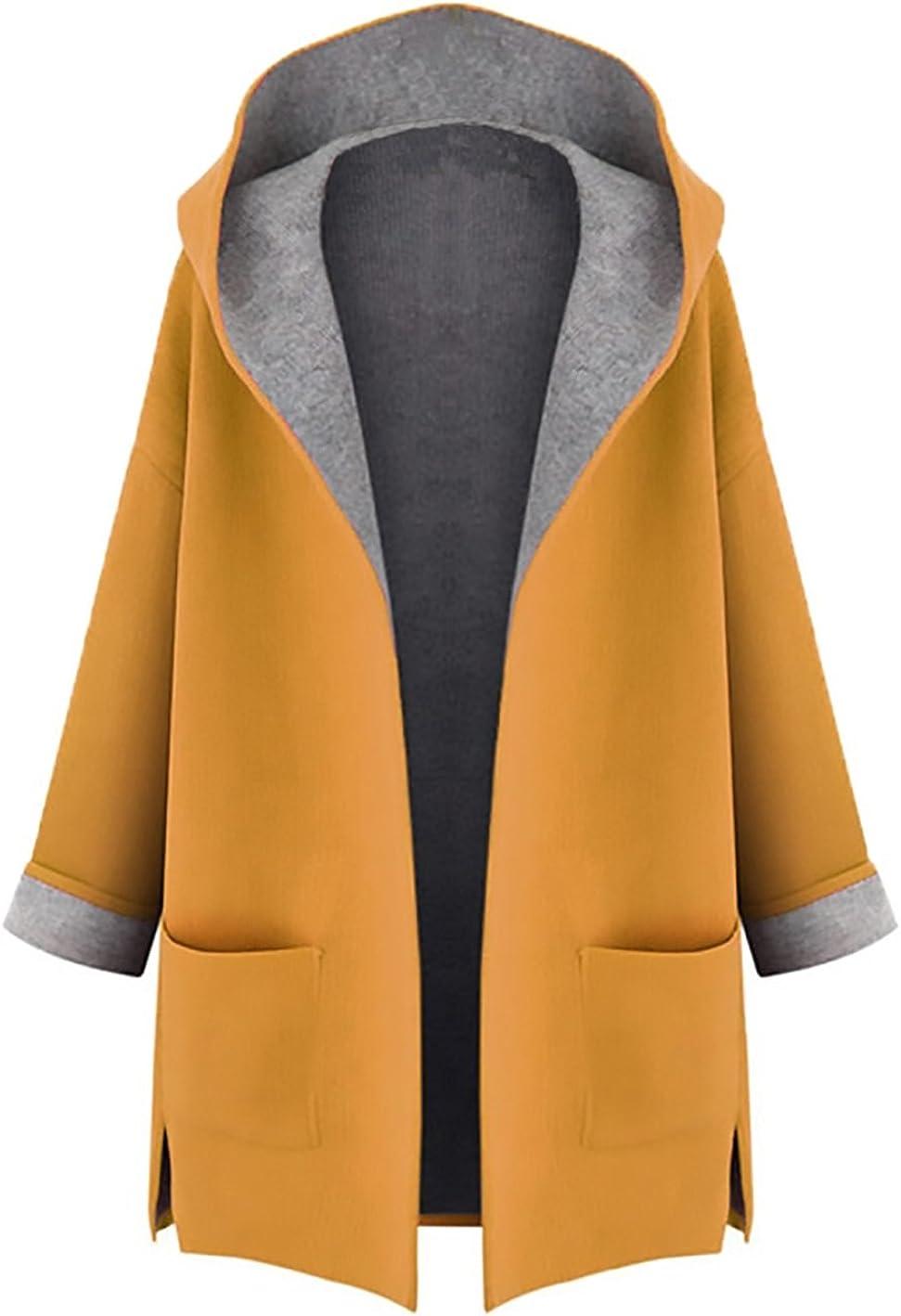 Minetom Mujer Otoño Invierno Suelto Abrigos con Capucha Moda Parka Trench Coat Elegante Bolsillos Chaquetas Tallas Grandes