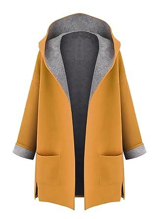 Minetom Mujer Otoño Invierno Suelto Abrigos con Capucha Moda Parka Trench Coat Elegante Bolsillos Chaquetas Tallas Grandes: Amazon.es: Ropa y accesorios