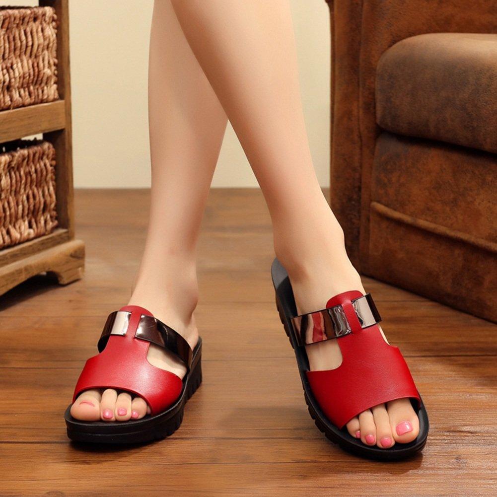 PENGFEI Zapatillas Pantofola Verano Hembra Plano Fondo Suave Playa De Arena Mamá Sencillo, Altura del Talón 4.2CM, 2 Colores (Color : Rojo, Tamaño : EU39/UK6/US7.5/245) EU39/UK6/US7.5/245 Rojo