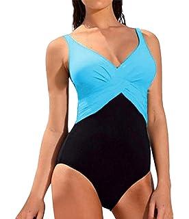 d5068d9d5516e Robert Reyna Fancy Women s Bathing Suits Long Torso Padded V-neck  Colorblock 1 Piece Swimsuit