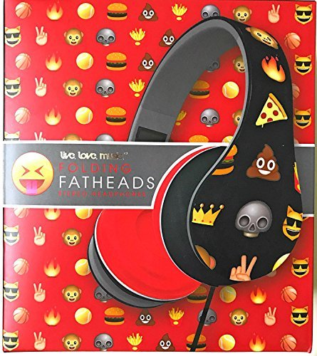 Live Love Music Folding Fatheads Stereo Headphones Emojis Poop Emoji Red and Black (Icon Stereo)