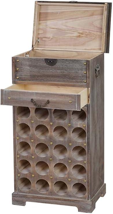Mueble-Botellero de madera, color marrón, para 20 botellas y 2 cajones, 94 x 48 x 31 cm-PEGANE-: Amazon.es: Hogar