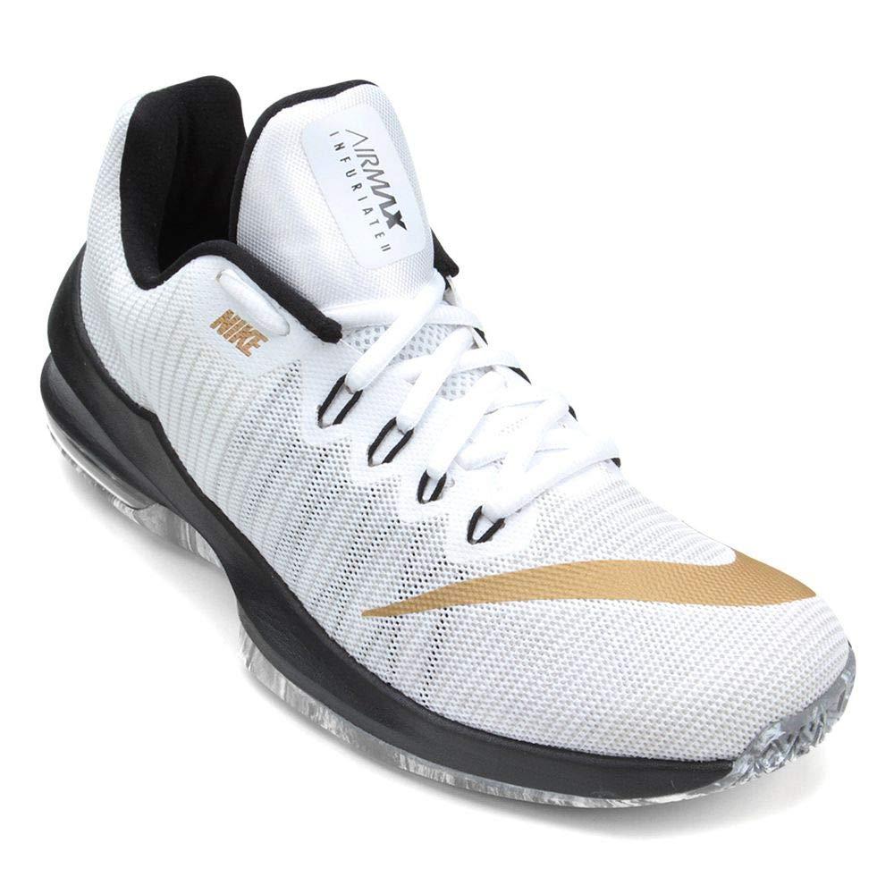 Vit  guld  svart Nike Mans Air Max Infuriate Ii Basketball skor