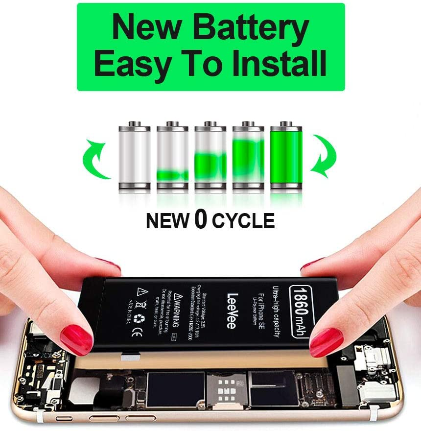 LeeVee 0 Cycle Li-Polymer Replacement Battery with Repair Tools Kits LeeVee 2300mAh High Capacity Replacement Battery Compatible with iPhone 7 7G Adhesive Strips /& Instructions