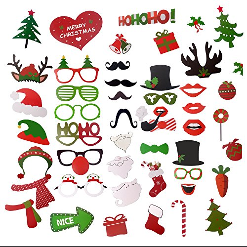 Make Deer Antlers Costume (49pcs Happy Party Photo Booth Props Kit - iRush Fun Family Theme Holiday Party Decoration DIY Funny Glasses Moustache Red Lips Deer Horn Haton Selfi Sticks, Santa / Elf Costume Photo Stick)