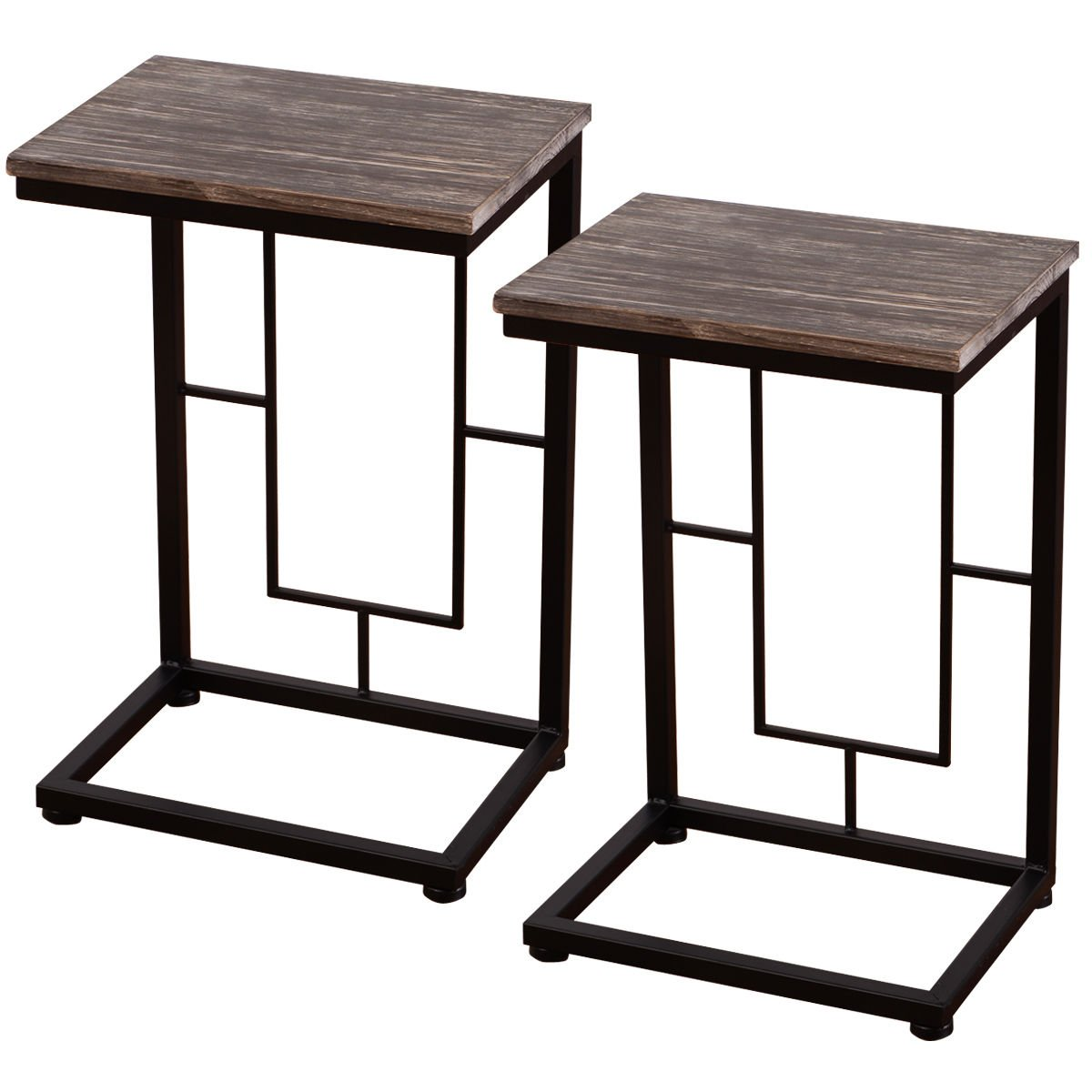 New MTN-G 2PCS 21.7'' Wood Coffee Tray Side Sofa End Table Couch Stand Lap Antique Finish