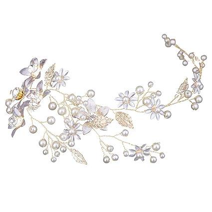 design exquis fournisseur officiel nouvelles images de Bride de demoiselle d'honneur en cristal pince à cheveux fleur de perle,  accessoire de coiffure peigne à cheveux en perle, coiffure en alliage, pour  ...