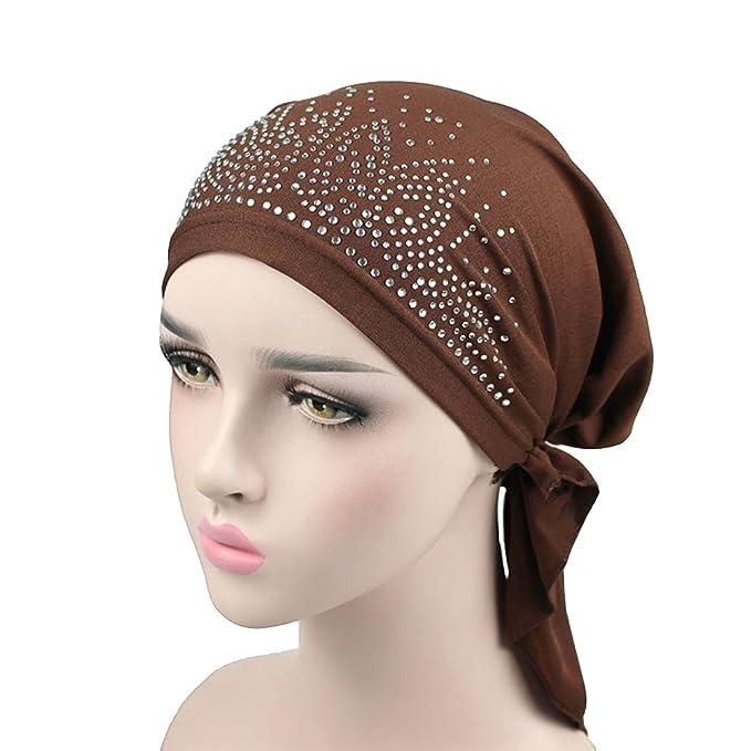ZYCC Lady s Elegant Stretch Drill Muslim Turban Hat Chemo Cancer Cap  Foulard Beanie Turbante Copricapo. Scorri sopra l immagine per ingrandirla 8cf9904824bc