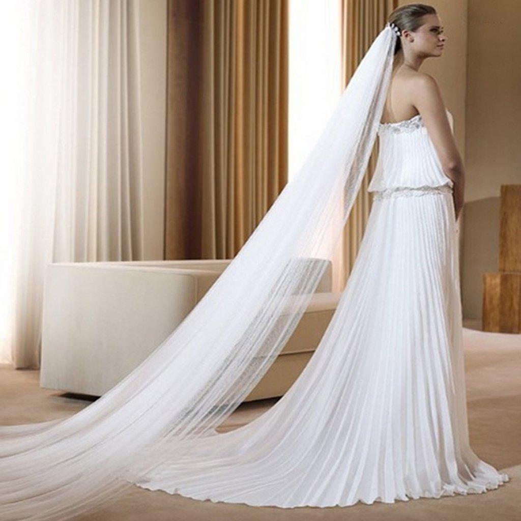 Wedding Veil, Dabixx 2 Layer 3M Chapel Floor Bridal Length Veil Ivory Cut Romantic Edge Wedding Beige