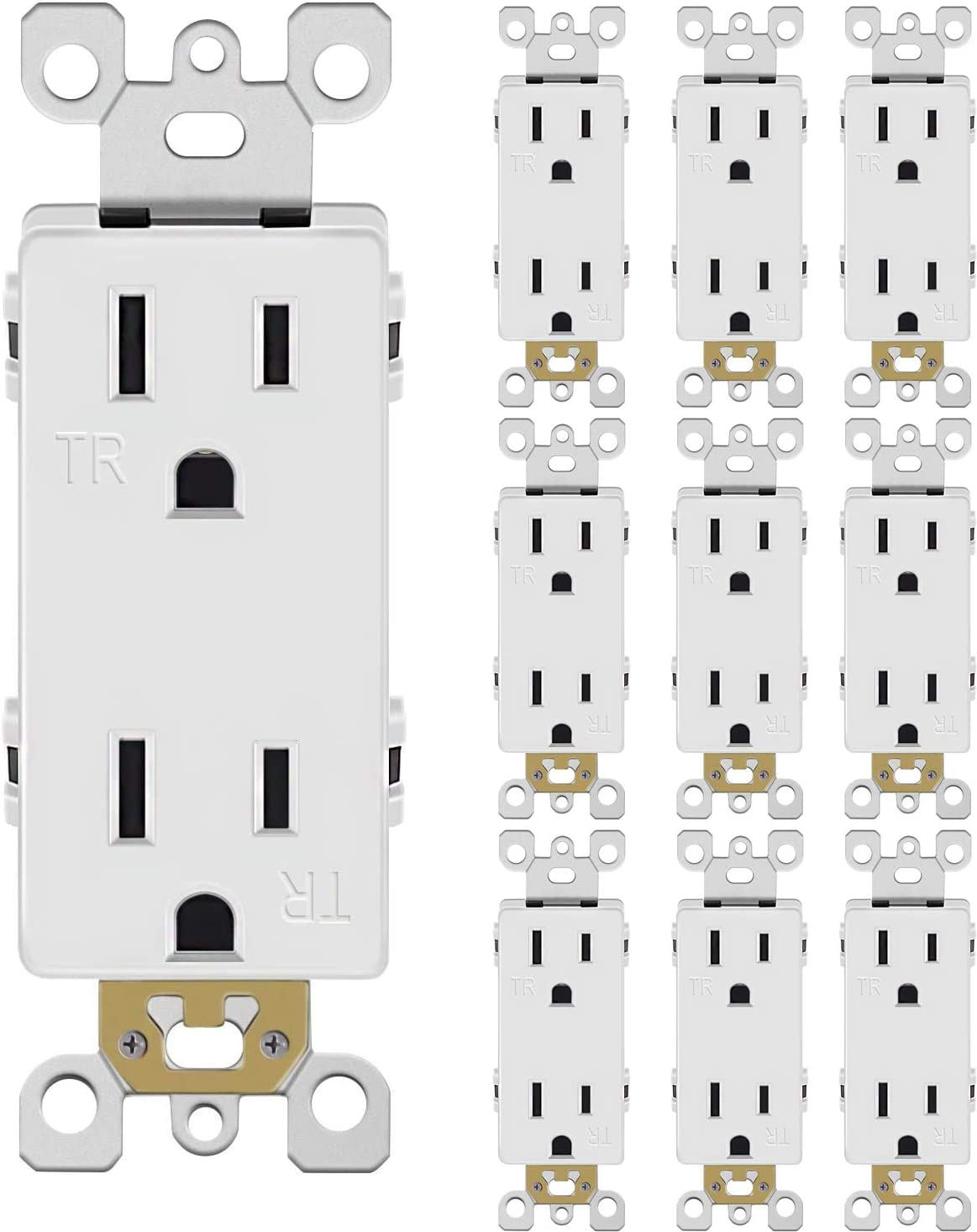 Outlet Decora Duplex Receptacle, 15 Amp, 125 Volt, Tamper Resistant, Grounding UL listed White, (15A outlet 10pack)