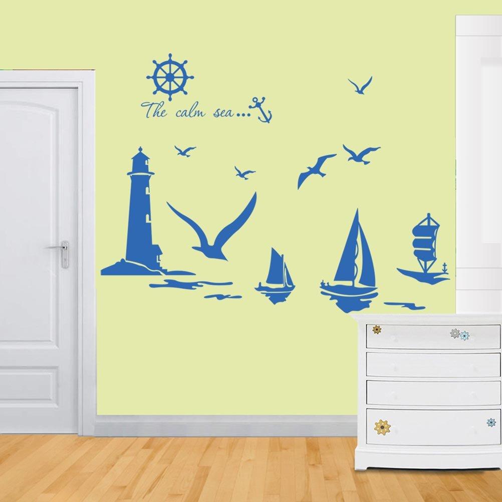 Amazon.com: BIBITIME The Calm Sea Wall Quotes Sticker Seagull ...