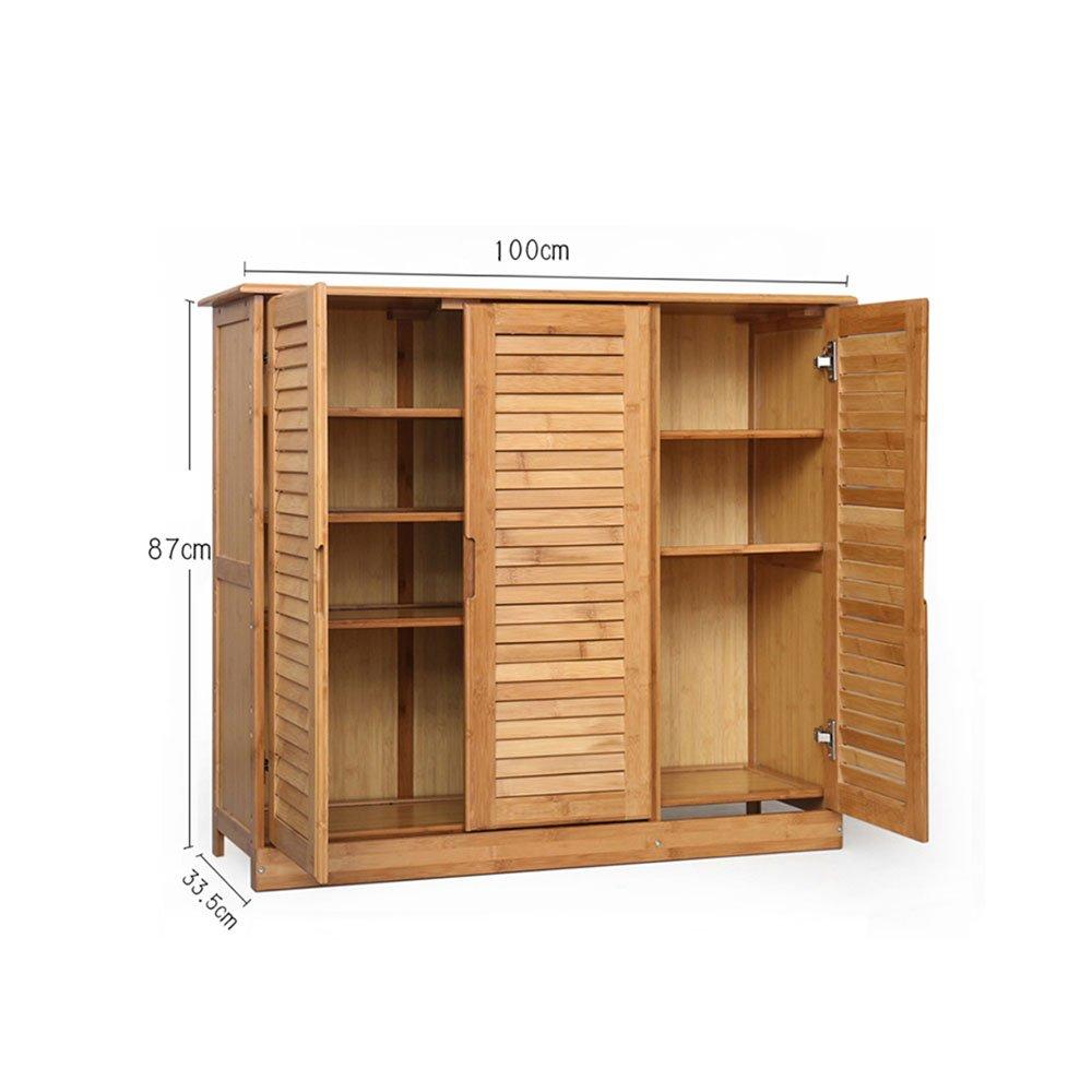 YNN バンブーシューボックス4層/5層シューズラックアセンブリソリッドウッド多機能家具ロッカー戸棚 (サイズ さいず : 100*87cm) B07DWWT361100*87cm