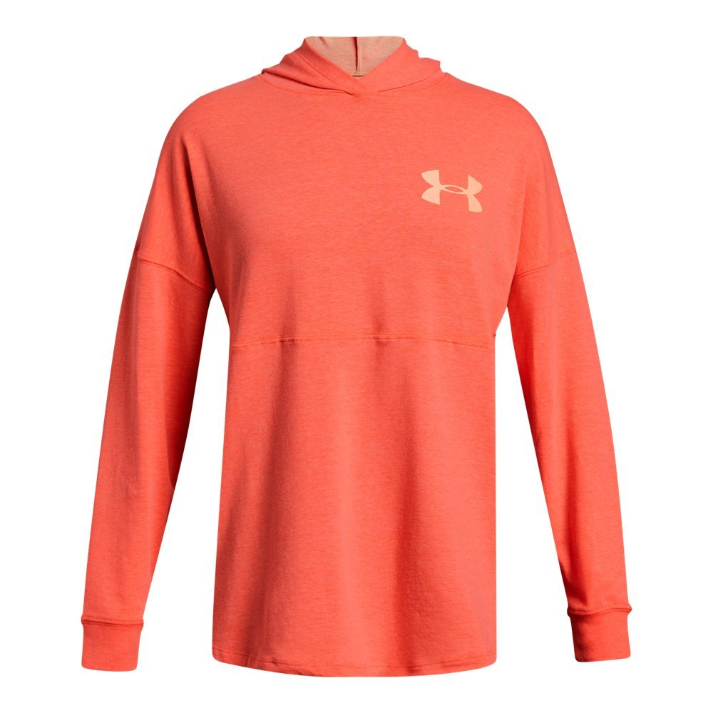 Under Armour Girls' Finale Hoodie, After Burn Light Hea (877)/Peach Horizon, Youth X-Large by Under Armour