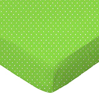product image for SheetWorld Fitted 100% Cotton Percale Square Play Yard Sheet Fits Joovy 38 x 38, Primary Pindots Green Woven, Made in USA