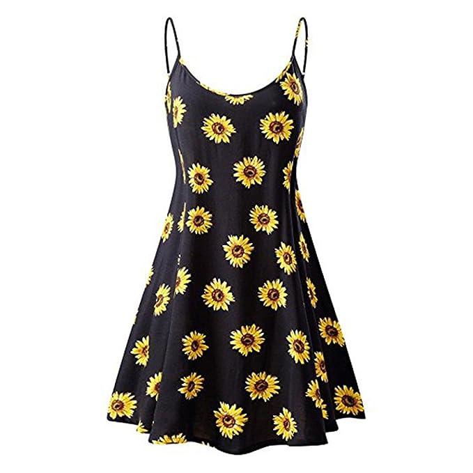 Women/'s Vintage Printed Sleeveless Strappy Summer Beach Swing Camis Dress UK