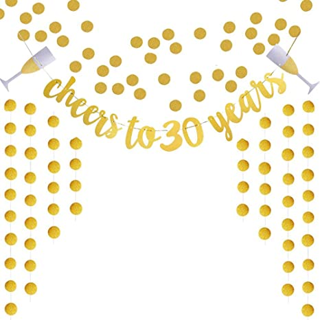 Extra Rose Gold Glittery Circle Dots Garland Partyprops Glittery Rose Gold Cheers to 30 Years Banner for 30th Birthday Wedding Anniversary Party Decorations Supplies