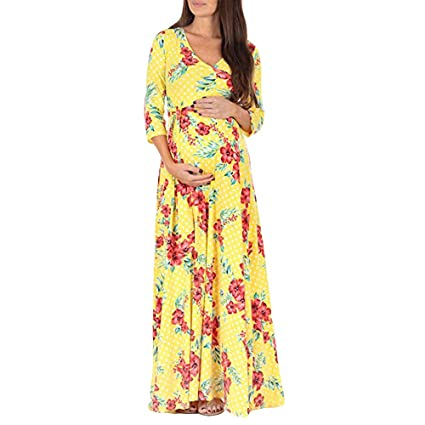Smdoxi Long Sleeve Chiffon Gown Maxi Pregnancy Photography Dress for Photoshoot and Baby Shower Maternity Elegant