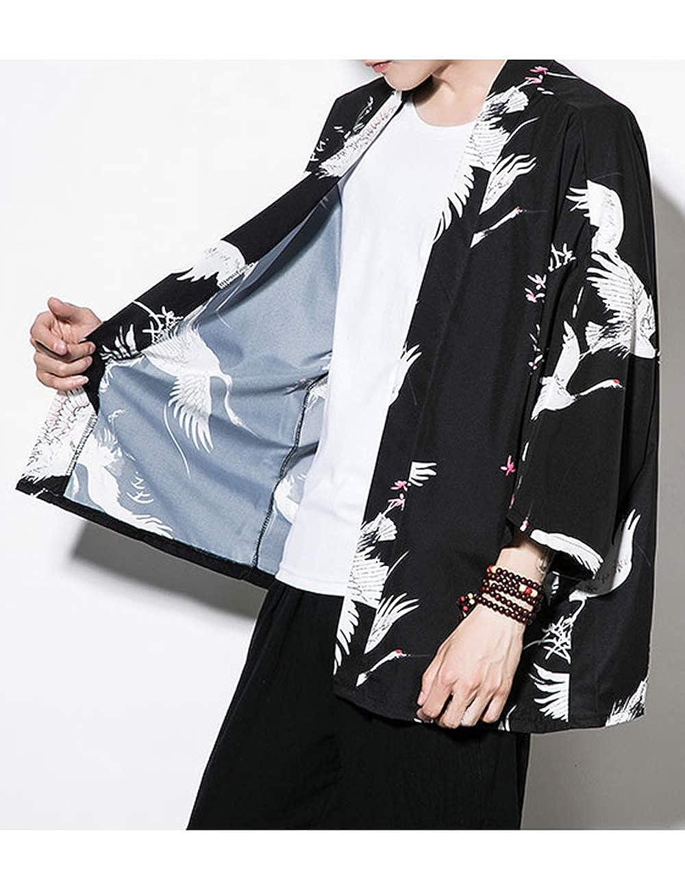 besbomig Haori Jacket Cloak Fashion Abiti Giapponesi Capispalla da Uomo Cardigan Kimono Casual Hippie