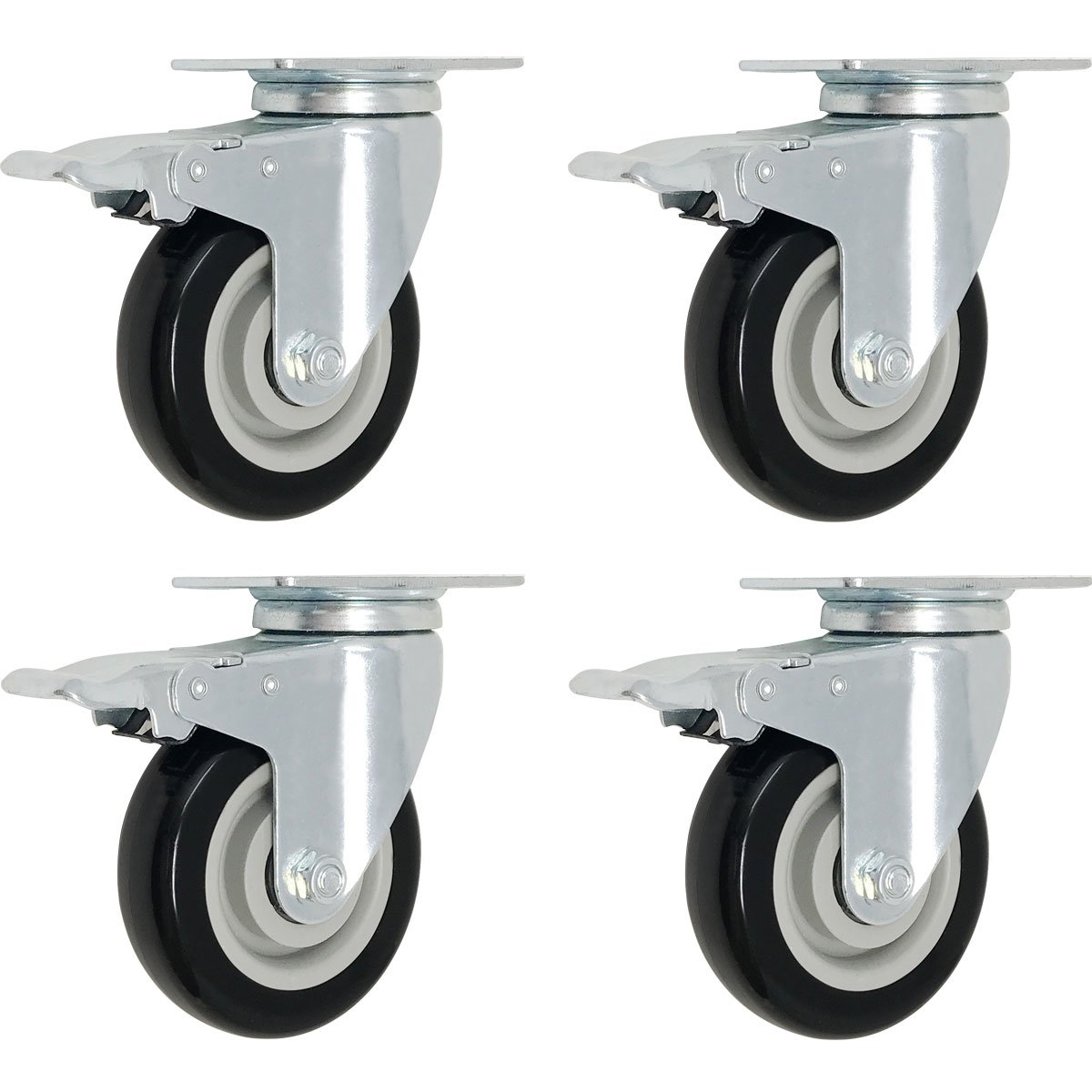 Online Best Service 4 Pack Caster Wheels Swivel Plate Brake Casters On Black Polyurethane Wheels (3 inch with Brake)