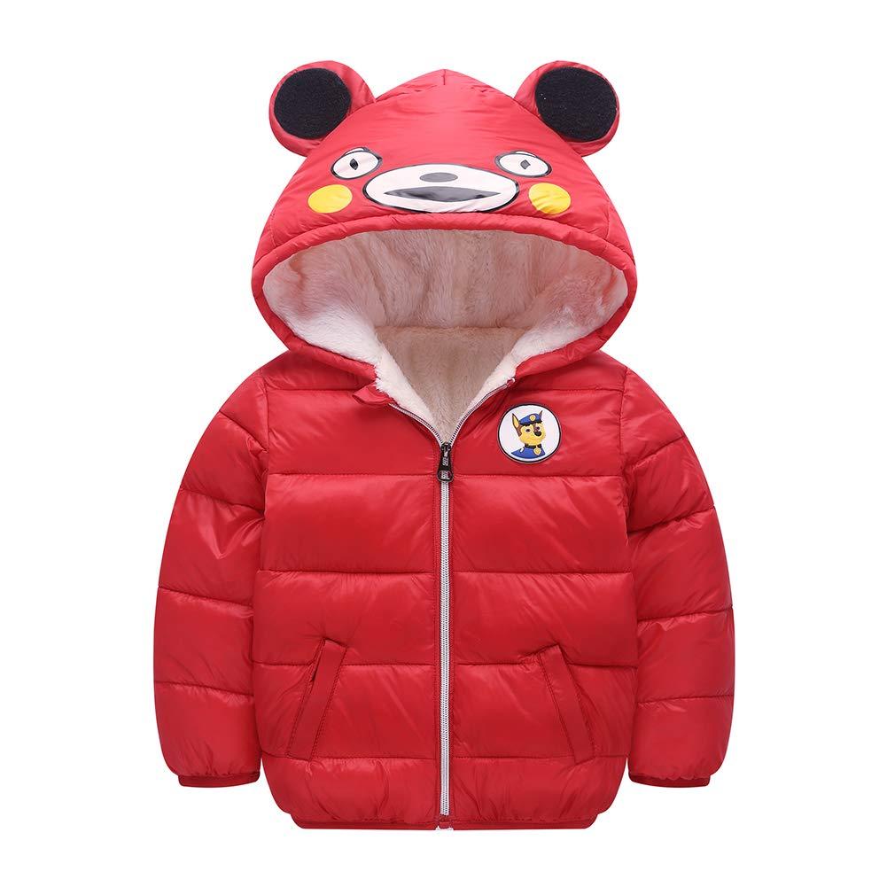 HUHUXXYY Kids Winter Thick Warm Jacket Coat Puffer Outwear Cartoon Hooded Snowsuit