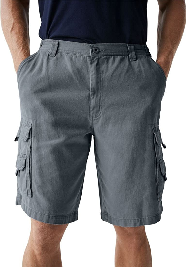 Big & Tall Side Elastic Marine Cargo Shorts in Twill or Denim Boulder Creek