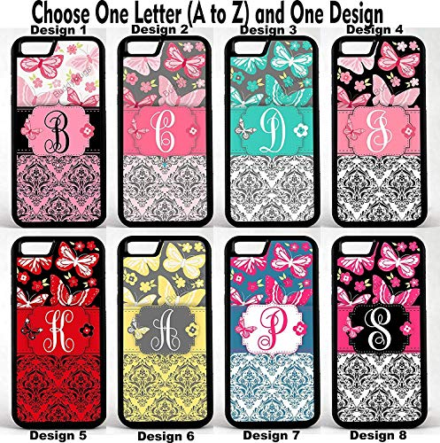 Butterfly Damask Group 1 Personalized Monogram Customized Rubber Phone Case Cover is compatible with Apple iPhone 4 5 6 6 plus 7