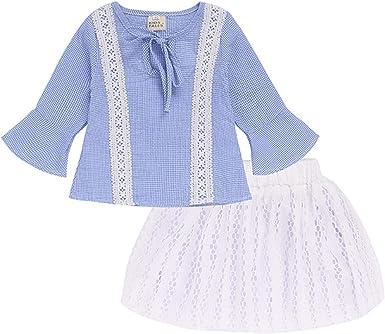 AIKSSOO Camisa de algodón con Encaje a Cuadros Azul de Manga Larga para niñas niños + Falda Hueca Blanca: Amazon.es: Ropa y accesorios