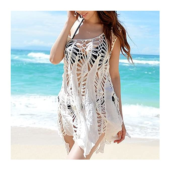 7cfc35d3bf MG Collection White Boho Chic Crochet Swimsuit Cover Up   Sleeveless Beach  Top  Amazon.ca  Clothing   Accessories