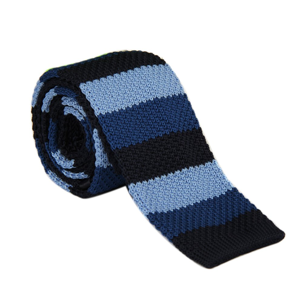 Ainow Smart Casual Men's 2 Skinny Knit Tie Necktie - Various Colors (Black)